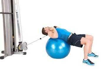 Скручивание на шаре для упражнений, с сопротивлением.